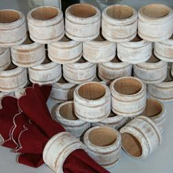 1 Rustic Wood Napkin Ring Holder Wedding Napkin Rings White