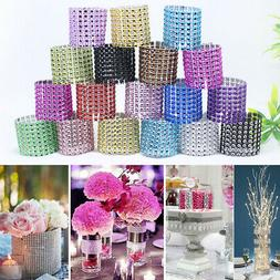 100pcs Diamond Mesh Wrap Napkin Ring Serviette Holder Chair