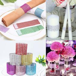 10pcs Diamond Mesh Wrap Napkin Ring Serviette Holder Chair B