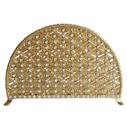 Napkin Holder  Pewter / Gold  With Crystals