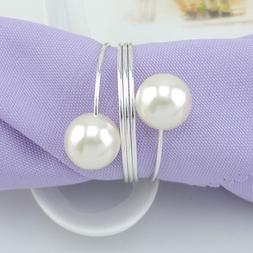 12 x Pearl Napkin Rings Wedding Dinner Party Decor Pearl Ser