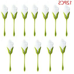 12PCS Bloom Napkin Holders Table Green Twist Flower Buds Ser