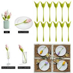 12Pcs Napkin Holders Table Green Twist Flower Buds Serviette