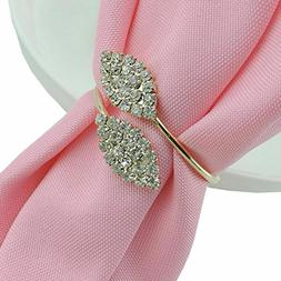 6X Napkin Rings Rhinestone Handmade Serviette Buckle Wedding