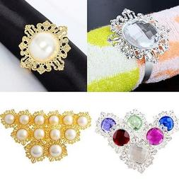12pcs/set Diamond Napkin Rings Holder Serviette Dinner Party