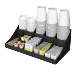 Mind Reader 13 Compartment Black Breakroom Condiment Organiz