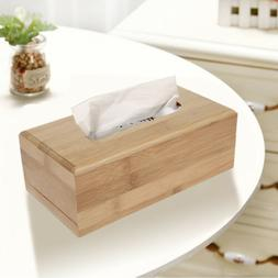 Bamboo Tissue Box Car Tissue Container Towel Napkin Tissue H