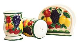 3-D MIxed Fruit Ceramic Salt/Pepper & Napkin Holder, 87028 b