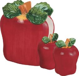 3 Pcs ceramic Apple Table Set - Salt & Pepper shakers & napk