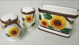 3 Pcs ceramic Sunflower kitchen Set Salt & Pepper shakers &