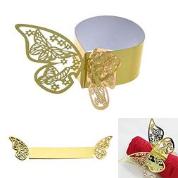 Milky House 50Pcs 3D Butterfly Paper Napkin Rings for Weddin