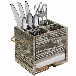 4 Compartment Torched Wood Kitchen Dining Utensil Organizer