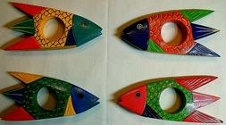 """4 Lot Wood Colorful Wooden Tropical Fish 6"""" Napkin Holder Ex"""