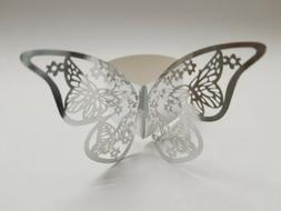 40pcs Silver Laser Cut Vine Butterfly Paper Napkin Ring Hold