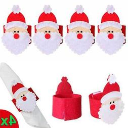 4X Christmas Santa Claus Napkin Rings Serviette Holder Table