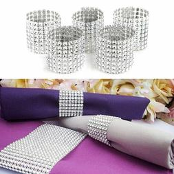 50/100/200X Diamond Mesh Wrap Rhinestone Napkin Ring Holder