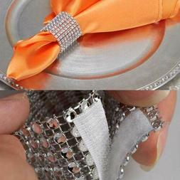 50PC Napkin Rings Rhinestone for Wedding Napkin Holder Rhine