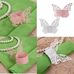 50Pcs Butterfly Napkin Ring Paper Holder Table Party Wedding