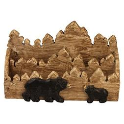 "Comfy Hour  6"" Forest Animals Bear Hand Carved Wooden Napki"