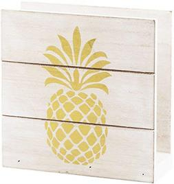 """Home Essentials 6"""" H White Wood Napkin Holder with Gold Pine"""
