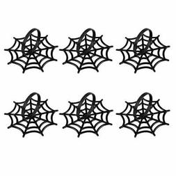6pcs Spider Web Spooky Design Napkin Rings Holder, Halloween