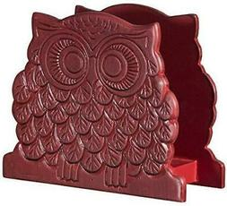Home Essentials and Beyond Wood 6 L in. Red Owl Shape Napkin