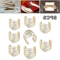 8×Napkin Rings Buckle Rose Design Metal Napkin Holder For W