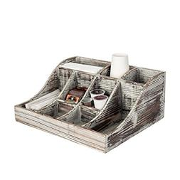 9-Compartment Rustic Torched Wood Tabletop Condiment Holder,