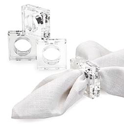 Acrylic Lucite Set of 4 Square Beveled Napkin Rings by Spark