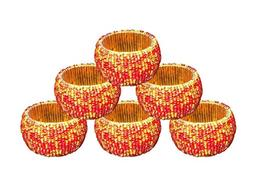 AsiaCraft Red & Gold Beaded Napkin Rings - Set of 6 Rings