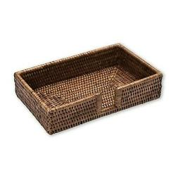 Entertaining with Caspari Rattan Guest Towel Holder, Brown,