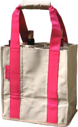 Fine Whines Party To Go Tote, Khaki with Hot Pink Trim