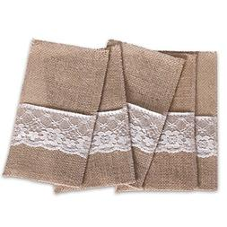 Ling's moment Natural Burlap Silverware Napkin Holders Cutle
