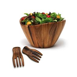 Lipper International Wave Bowl with Salad Hands, Brown