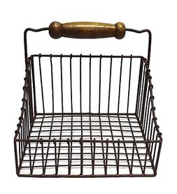 Primitive Farmhouse Metal Napkin Holder with Wooden Handle -
