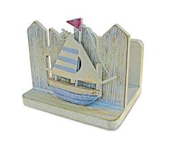 Puzzled Vintage Nautical Wooden Sail Boat Napkin Holder, 3.5
