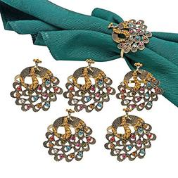 TtoyouU Set of 6 Alloy Delicate Vintage Peacock Napkin Rings