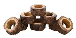 ShalinIndia Artisan Crafted Rustic Wood Napkin Rings Set of
