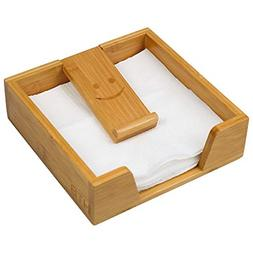 Bamboo Flat Napkin Holder w Weighted Arm Decorative Tray Dis