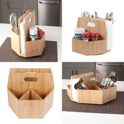 Bamboo Rotating Utensil Holder Portable Silverware Caddy, Co
