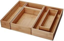 Bamboo Wood Drawer Organizer Boxes, Assorted Sizes, 5-Piece