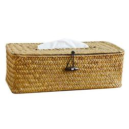 SODIAL Bathroom Accessory Tissue Box, Algae Rattan Manual Wo