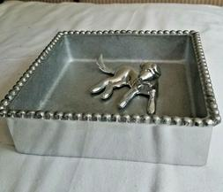 Mariposa Beaded Cocktail Napkin Holder with Lab Labrador Dog