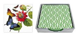Mariposa Beaded Luncheon Napkin Box with 2 sets of Luncheon