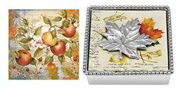 Mariposa Beaded Napkin Box with Silver Maple Leaf Napkin Wei