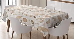 CHARMHOME Beige Cotton Linen Tablecloth, Dining Room Kitchen