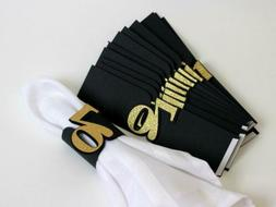 All About Details Black & Gold 70 Napkin Holders, Set of 12