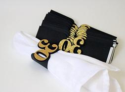 All About Details Black & Gold 30 Napkin Holders, Set of 12