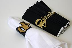 All About Details Black & Gold 40 Napkin Holders, Set of 12