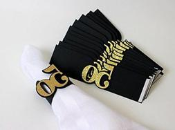 All About Details Black & Gold 50 Napkin Holders, Set of 12